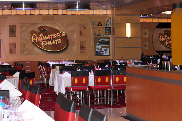 Disney cruise family vacation - Animator's Palate restaurant