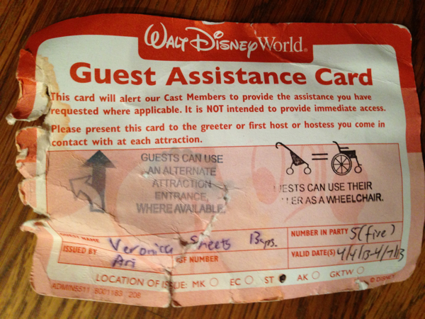 Disney World Guest Asstance card