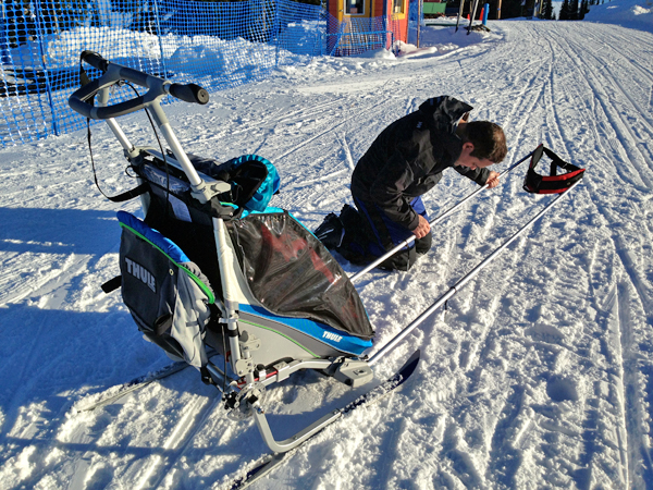 putting together the Thule Chariot CX1 ski stroller