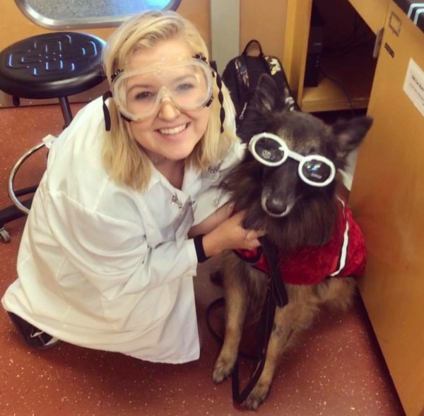 service dog at school in lab